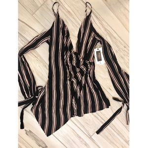 Other - Striped Open Sleeve Romper